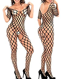 Women Bodystocking Fishnet Bodysuit Crotchless Fasicat Lingerie One Size