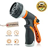 MDZZ Garden Hose Nozzle, Superior Lightweight 8 Adjustable Watering Patterns Metal Water Spray Nozzle, High Pressure and Slip Resistant Rubberized Grip, for Cleaning, Car Wash and Shower Pets