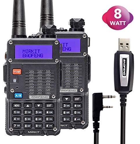 2PCs Baofeng Radios UV-5R MK5 8 Watt MP Max Power 2019 1800 mAh Li-ion Battery with Programming Cable Compatible for Baofeng Two Way Amateur Ham Radio Walkie Talkie, Mirkit Edition (Small Ham Radio)