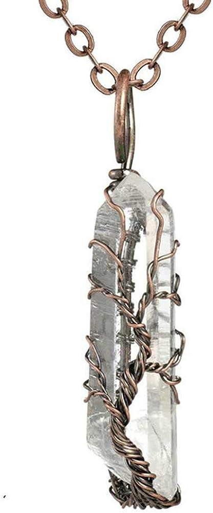 Chakra Ainbow Piedra Natural Collar de Alambre de Cobre Colgante para Mujeres Hombres Cadena LargaÁrbol de la Vida Declaración Joyería Regalo