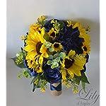 Wedding-Bouquet-Bridal-Bouquet-Bridesmaid-Bouquet-Silk-Flower-Bouquet-Wedding-Flower-Yellow-Sunflower-mini-Sunflower-navy-blue-blue-dark-blue-navy-burlap-rustic-greenery-Lily-of-Angeles