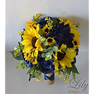 Wedding Bouquet, Bridal Bouquet, Bridesmaid Bouquet, Silk Flower Bouquet, Wedding Flower, Yellow, Sunflower, mini Sunflower, navy blue, blue, dark blue, navy, burlap, rustic, greenery, Lily of Angeles 104