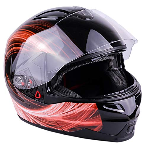 Typhoon Helmets Adult Modular Motorcycle DOT Dual Visor Full Face Flip-Up Helmet