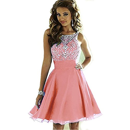 Ccbubble Courtes Robes De Bal 2018 Lacets Perles Corail Homcoming Robe De Graduation