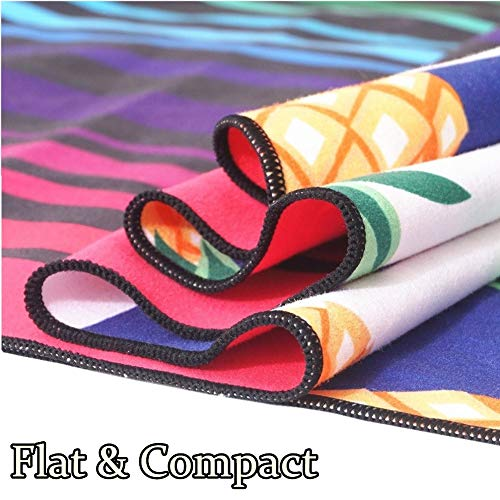 Sand Free Travel Beach Towel Blanket-Quick Fast Dry Super Absorbent Lightweight Thin Microfiber Towels for Pool Swimming Bath Camping Yoga Gym Pineapple Boho Bohemian