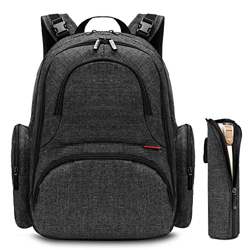 CoolBELL Baby Diaper Backpack with Insulated Pockets/Large Size Water-Resistant Baby Bag/Multi-Functional Travel Knapsack Include Changing Pad (Black)