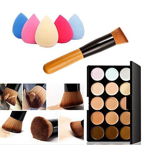 Hosaire Makeup Set 15 Colors Warm Eyeshadow Makeup Concealer Contour Palette + Makeup Brush + Makeup Foundation Sponges (Best Eyeshadow Palette For Asian Skin)