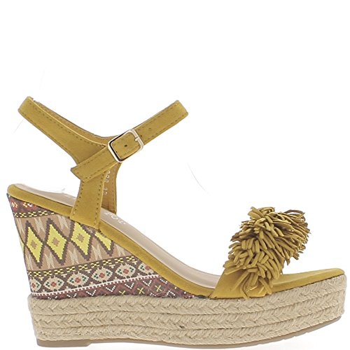 Giallo senape zeppa sandali 11cm con frangia e piattaforma tacchi
