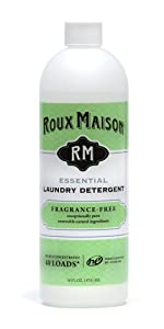 Roux Maison Essential Laundry Detergent - Odor Eliminator HE Detergent, All Natural Laundry Detergent, Up to 40 Machine Loads or 80+ Hand Washes - Fragrance Free 16oz.