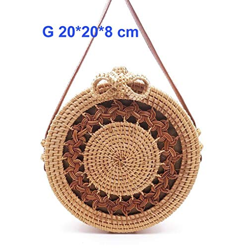 Kong Natural Straw - Lenvuramic Round Straw Women Summer Rattan Handmade Woven Beach Cross Body Bag Circle Bohemia Handbag G Lou Kong Hua bian