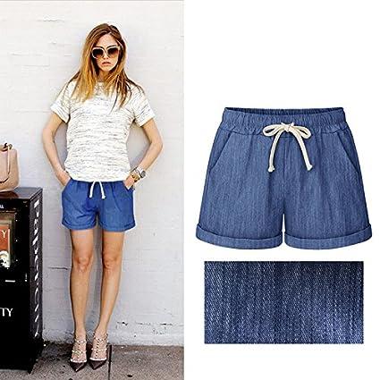 MO GOOD Womens Elastic Waist Cotton Casual Beach Shorts with Drawstring