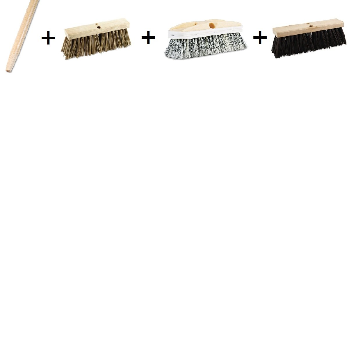 60'' Handle with 3 Brush Set - Tapered End Broom Handle, Lacquered Hardwood, 1 1/8 Dia. x 60 Long, Polystyrene Vehicle Brush w/Vinyl Bumper, 2 1/2 Bristles, 10'' Brush, Street Broom Head, Polypropylene