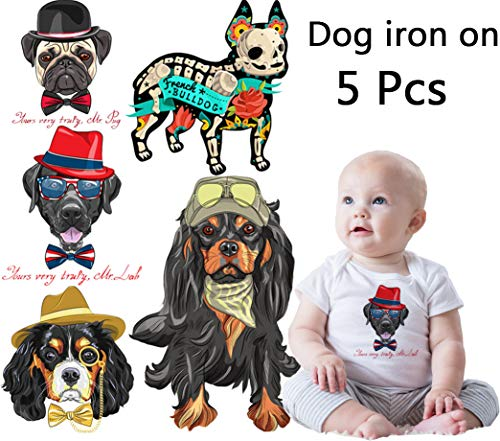 Kids Iron On Patches-Baby Transfers Stickers Patch Appliques for Clothes- 5 Sheets Dogs Heat Transfer Patches Cartoon Appliques Waterproof DIY Stickers for T-Shirt,Jackets,Bags,Baby Clothes
