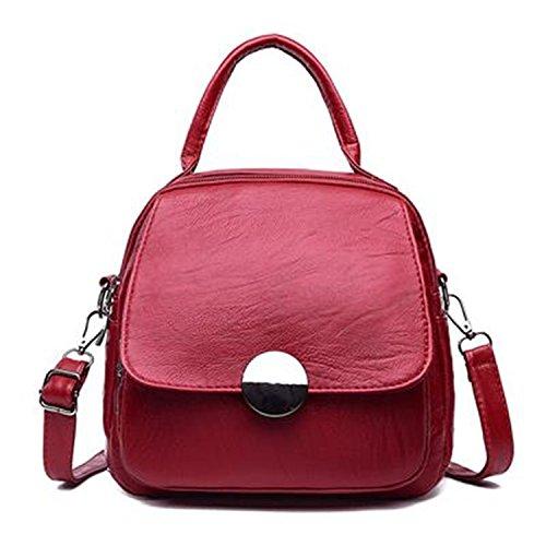 Small Leather Backpack Women School Bags For Teenage Girls Vintage Women Backpacks Multifunction Mochilas Feminina Red