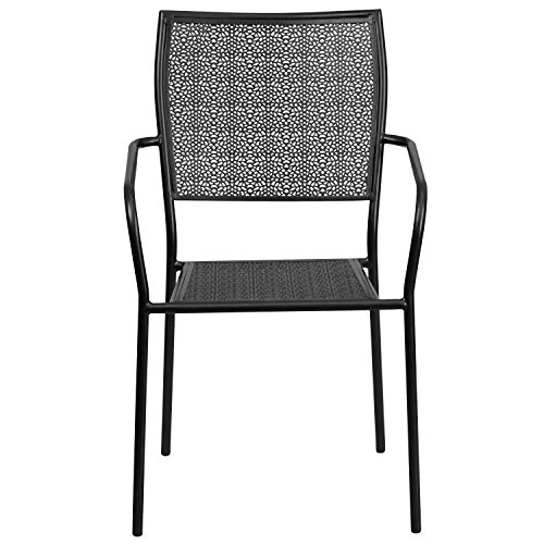 MFO Black Indoor-Outdoor Steel Patio Arm Chair with Square Back by My Friendly Office (Image #3)