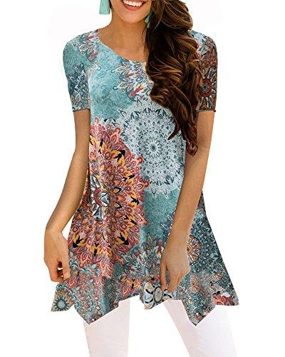 Printed Cotton Tunic Top - BOCOTUBE Women's Short Sleeve Irregular Hem Printed Blouse Loose T-Shirt Tunic Tops