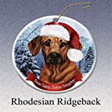 Holiday Pet Gifts Rhodesian Ridgeback Santa Hat Dog Porcelain Christmas Tree Ornament