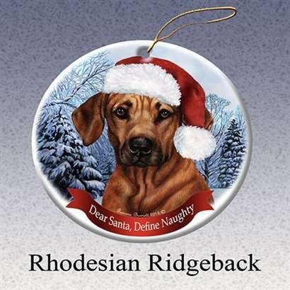 Holiday Pet Gifts Rhodesian Ridgeback Santa Hat Dog Porcelain Christmas Tree Ornament ()