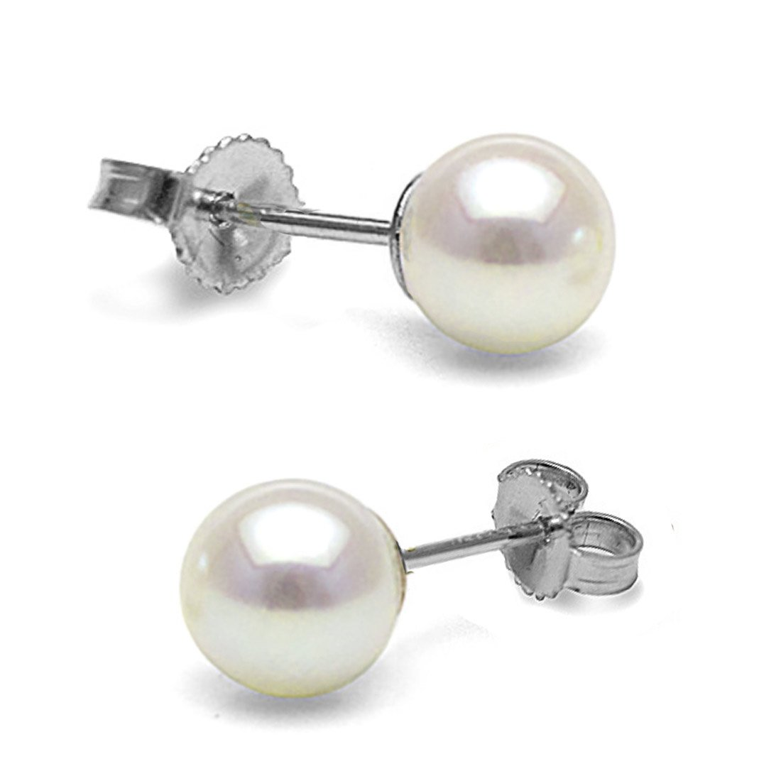 14K Cultured White Japanese Akoya Pearl Stud Earrings, AAA Quality (white-gold, 6.0-6.5mm)