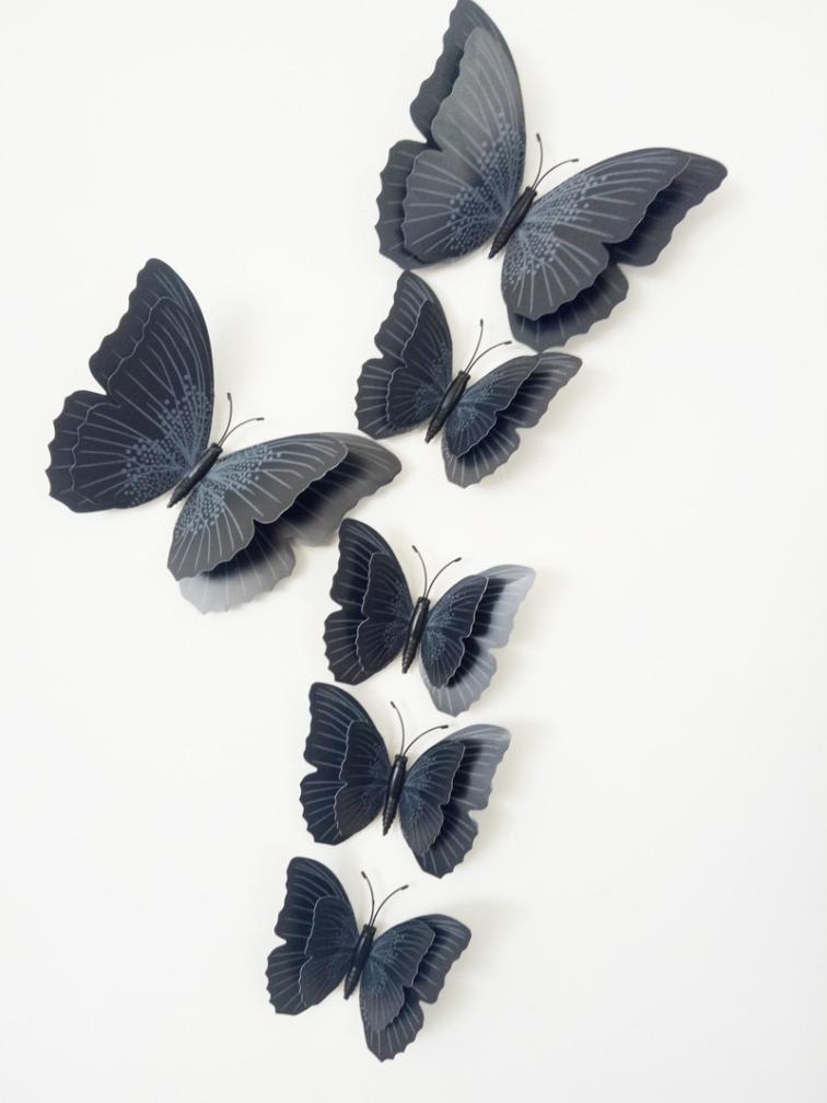 Wall stickers,Orangeskycn 12x 3D Butterfly Wall Sticker Fridge Magnet Room Decor Decal Applique (Black)