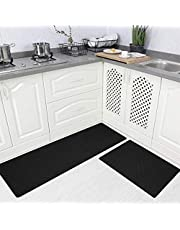 SHACOS Anti Fatigue Kitchen Floor Mat Set of 2 Comfort Mat 10mm Thick PVC Foam Cushioned Standing Mats Kitchen Rug Waterproof Non Slip Wipe Clean (Black, 18x30+18x47 Inches)