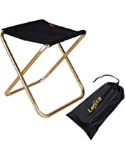 Lesfit Portable Folding Stool, Outdoor Fold up Lightweight Camp Aluminium Stools Seat for Camping, Fishing, Picnic, Travel and Hiking (30x25.5x31.5cm)