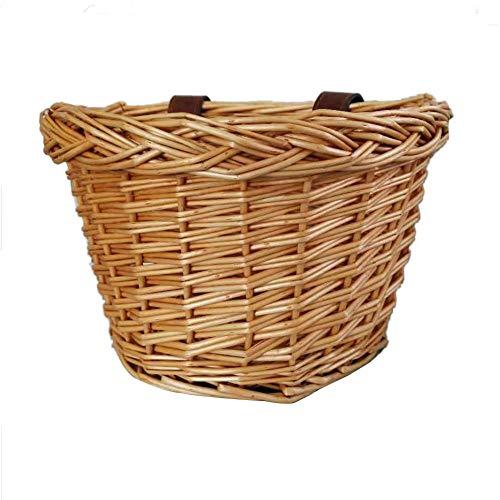 VOVI Bike Baskets Wicker Front Handlebar Bike Baskets for Dogs Cargo Kids Bicycle Basket, Waterproof, Leather Straps, Willow Bicycle Basket ()
