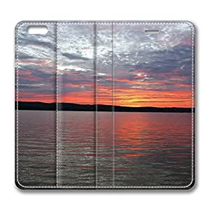 iPhone 6 Leather Case, Personalized Protective Flip Case Cover Sunrise Portage Lake Onekama Mi for New iPhone 6