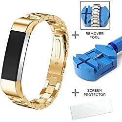 Fitbit Alta HR and Alta Bands, Zenos Premium Replacement Stainless Steel Accessory Band (Gold Color Bands + Free Link Remove Tool)