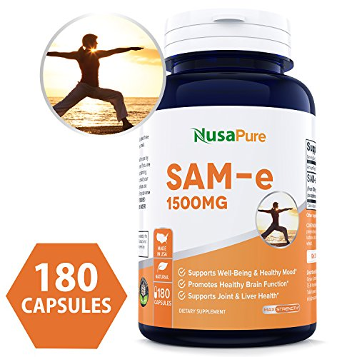 SAM-e 1500mg 180 Capsules (Non-GMO) - Same (S-Adenosyl Methionine) to Support Mood, Joint Health, and Brain Function - Extra Strength SAM e Pills - 500mg per caps - 100% Money Back Guarantee! ()