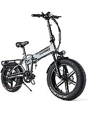 SAMEBIKE 20 inch e-bike mountainbike, opvouwbare elektrische mountainbike 500 W, 48 V, 10 AH, dikke banden, mountainbike voor volwassenen, maximale snelheid van 35 km/u