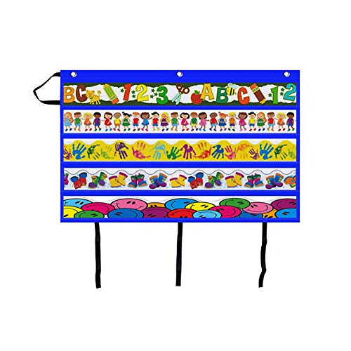 Godery Border Storage Pocket Chart, Classroom Pocket Charts for Border Decorations Organizing and Displaying (Blue)