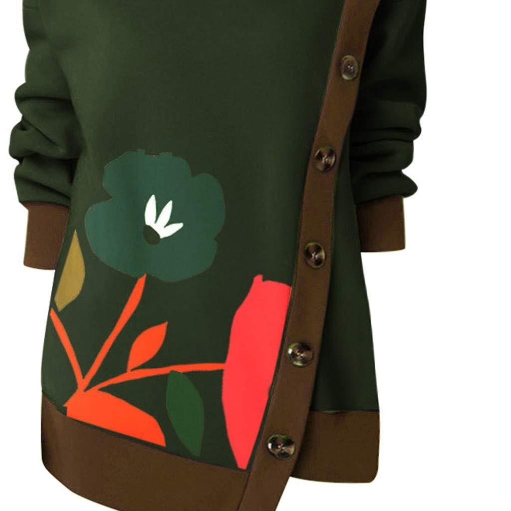Houshelp Womens Button High Neck Loose Casual Long Sleeve Shirts Blouses Sweatshirts Tunics Tops Autumn Winter