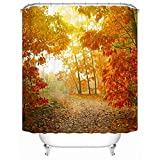 JaHGDU Shower Curtain 1pcs Shower Curtains Maple Leaves Polyester Quick-Drying Anti Wrinkle Thicken Mold Waterproof Durable Bathroom Curtain Barrier Curtains Multi-Size Send Hooks Super Quality