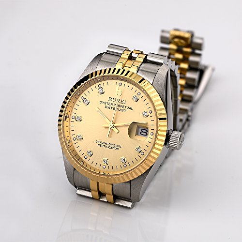 BUREI Mens Dress Automatic Watches with Luxury Style Datejust Sapphire Crystal Stainless Steel Bracelet by BUREI (Image #2)