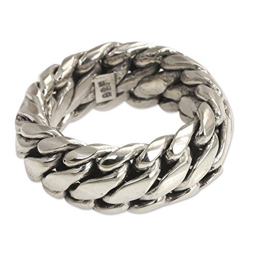 NOVICA .925 Sterling Silver Men's Braided Chain Band Ring, Sanca Kembang Python'