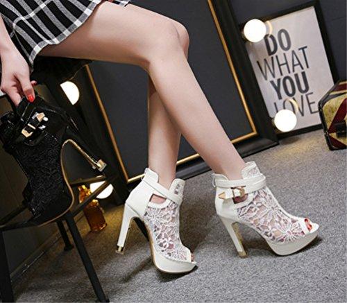 LIANGXIE für Kurzstiefel Stiefel Sandalen in Cool Hohem Damen Zhzz Farbe Stiefel und Bequeme Reiner für Ferse Mädchen mit Sexy für Weiß Absatz Bankett AAq5r