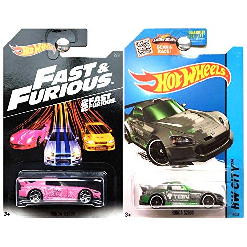 Hot Wheels Fast Furious Honda S2000 in Pink and 2015 Kmart Exclusive Honda S2000 in Grey Gray Set of 2