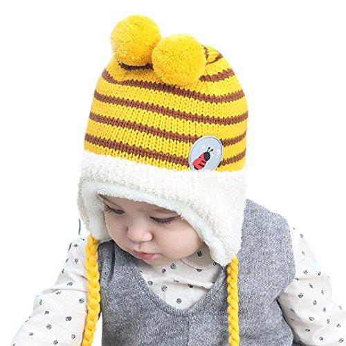 Baby Beanie, Misaky Boys Girls Earflap Hat Stripe Cotton Hat Child Knitting Hats (# D)