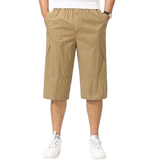 588717c4d84 Insun Homme Cargo Shorts Capri Avec Taille Élastique Pantalon Court Bermuda  Kaki FR36-38
