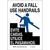 "Brady 124027 Bilingual Sign, Legend ""Avoid A Fall Use Handrails/Evite Caidas. Utilice El Pasamanos."", 10"" Height, 7"" Width, Black and Blue on White offers"