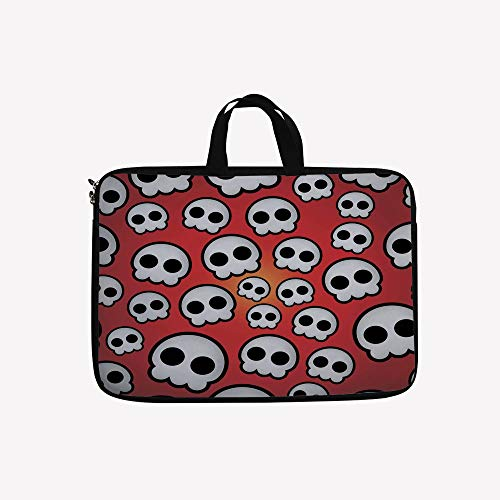 3D Printed Double Zipper Laptop Bag,of Various Sized Cute Skulls Teen Youth Emo,13 inch Canvas Waterproof Laptop Shoulder Bag Compatible with11.12.6
