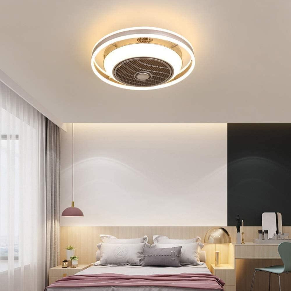 GRELEE Ventilador de Techo con luz, Ventilador Invisible Creativo Luz de Techo LED Control Remoto Regulable lámpara de araña Ultra silenciosa,White