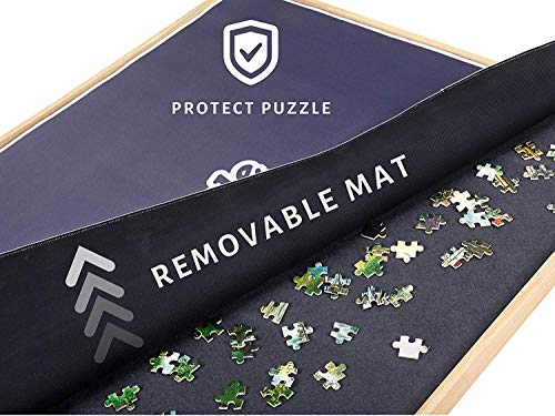 (Portable Puzzle Board & Storage Table - Quality Jigsaw Puzzle Board, Fits 1000 Piece Puzzles. Lightweight, Easy to Store, 4 Color Sliding Drawers, Plus Puzzle Mat, Fun at Your Fingertips, Great Gift )