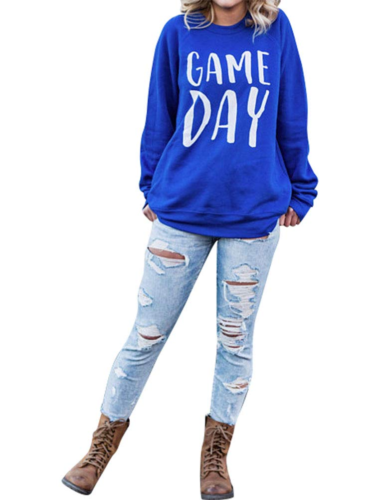 Nlife Women Game Day Letter Print Shirt Crew Neck Long Sleeve Casual Style Solid Sweatshirt Tops Blouse by Nlife (Image #3)