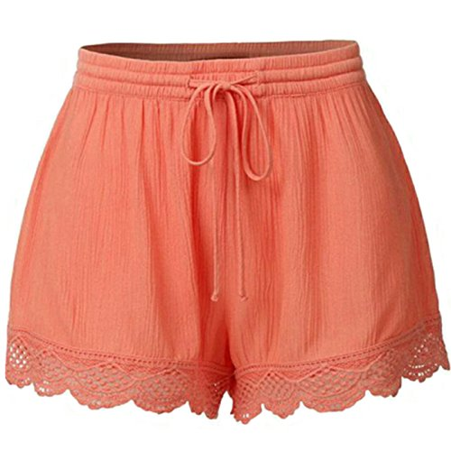 Just For Future Women's Plus Size Casual Drawstring Elastic Waist Lace Spliced Shorts Pants (Orange, XXL) by Just For Future