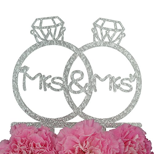 LOVENJOY Gift Box Pack Lesbian Mrs and Mrs in Diamond Rings Same Sex Monogram Wedding Engagement Cake Topper (5.3-inch, Silver Glitter)