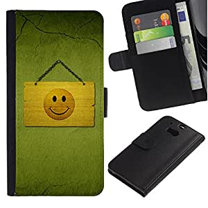 "HTC One M8 , la tarjeta de Crédito Slots PU Funda de cuero Monedero caso cubierta de piel ("" Smiley Happy Face Drawing Sign Symbol Yellow"")"