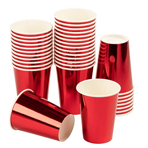 Red Paper Cups - 36-Pack Disposable 12oz Cups, Red Foil Drinking Cups for Cold Beverages, Party Decoration Supplies -