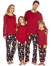 Balancora Weihnachts Baumwolle Schlafanzug Familie Outfit Fun-Nachtwäsche Weihnachten Set Für Damen Herren Kinder Mädchen Jungen Baby Pyjamas Langarm 2Pcs Set